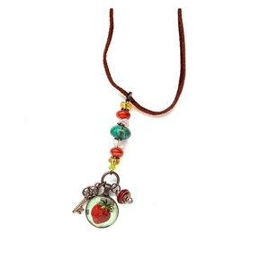 Handmade Necklace with Strawberry Pendant